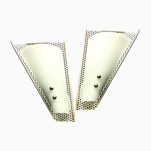 Vintage Wall Lights with Perforated Metal and Plastic Shades, 1950s, Set of 2