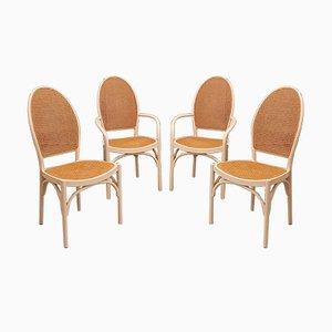 Weiße Esszimmerstühle aus Bugholz & Rattan von Thonet, 1970er, 4er Set