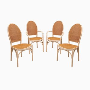 White Bentwood and Rattan Dining Chairs from Thonet, 1970s, Set of 4