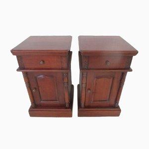 Antique Dark Wood Bedside Cabinets with Brass Handles & Single Drawer, Set of 2