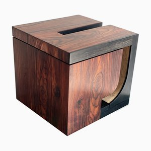 PJ Box Sculpture in Cocobolo Rosewood and Ebony with Birds Eye Maple Interior