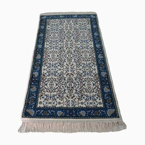 Vintage Hand-Knotted Wool Oriental Area Rug with Flower Patterns