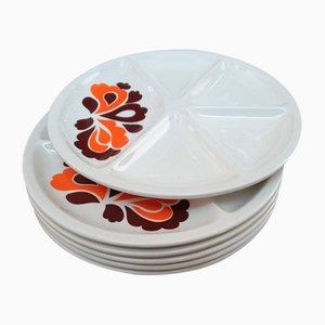 Multi-Colored Compartment Plates, Set of 6