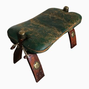 Vintage Regency Style Rosewood and Green Leather Camel Saddle Ottoman, 1950s