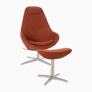 Varier Cocoon Armchair and Stool in Orange Rust Brown Copper, Set of 2