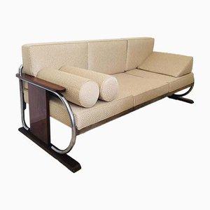 Beige Bauhaus Tubular Steel Sofa by Robert Slezak, 1930s