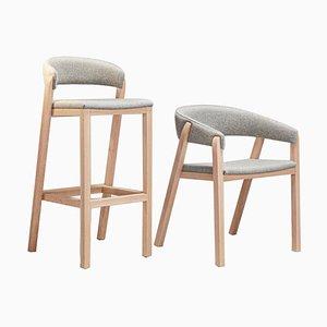 Grauer Oslo Hocker & Stuhl von Pepe Albargues, 2er Set