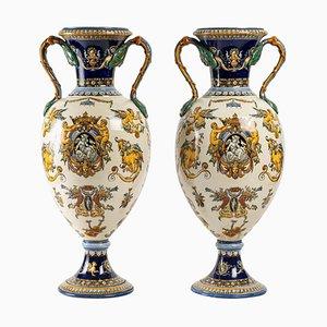 Vases in Gien Earthenware, Set of 2