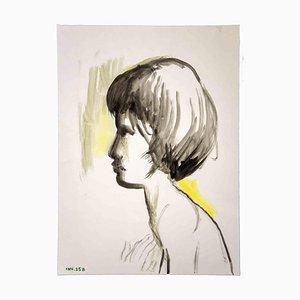 Leo Guida, Portrait, Aquarelle Originale, 1970s