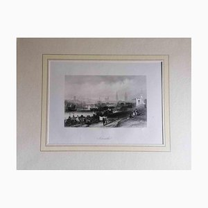 Unknown, Ancient View of Newcastle, Original Lithograph, Mid-19th Century