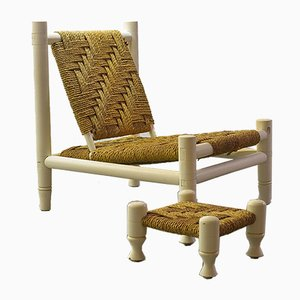 White Oak Low Seat Lounge Chair in Sisal Rope with Footstool in the Style of Charlotte Perriand, 1960s