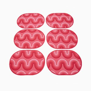Spectrum Table Mats in Red Curve Fabric by Verner Panton for Mira-X, 1970s, Set of 6