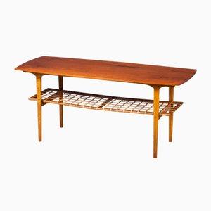 Coffee Table in Teak and Oak with Wicker Shelf, Denmark, 1960s