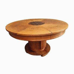 Table de Salle à Manger Ronde Art Déco en Chêne
