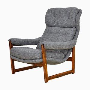 Poltrona alata in palissandro con rivestimento in lana, Scandinavia, anni '60