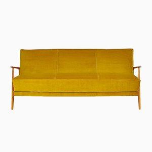 Mid-Century Yellow Velvet Sofa or Daybed, 1960s