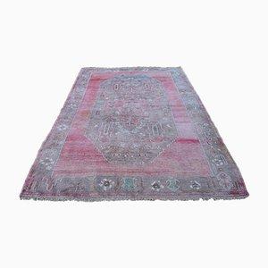 Distressed Decorative Oushak Carpet in Pastel Colors