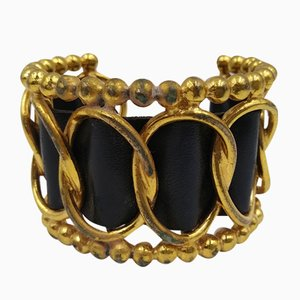 Vintage Leather Cuff with Beading from Chanel