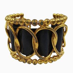 Vintage Leder Manschette mit Perlen von Chanel