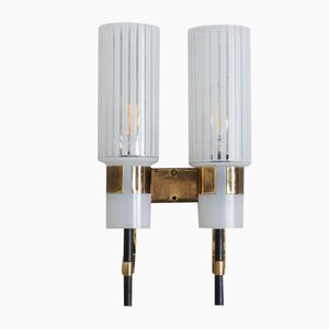 Mid-Century Italian Wall Sconce in Brass and Striped Glass, 1960s