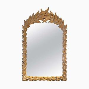 Carved Wood Palm Leaf Mirror, 1970s