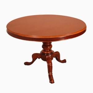 Round Mahogany Table with Central Foot, 19th Century, France