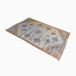 Schwedischer Mid-Century Flachgewebe Rollakan Teppich in Beige