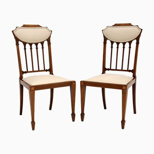 Antique Edwardian Inlaid Side Chairs, Set of 2
