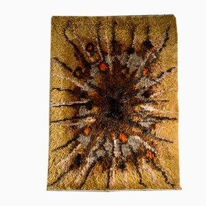 Large Mid-Century Swedish Brown High Pile Carpet
