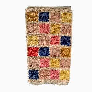 Mid-Century Swedish Check Wool Rya Rug