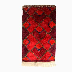 Mid-Century Swedish Red Wool High Pile Rya Rug
