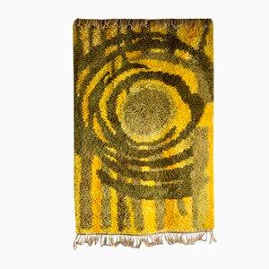 Mid-Century Swedish Yellow Wool High Pile Rya Rug