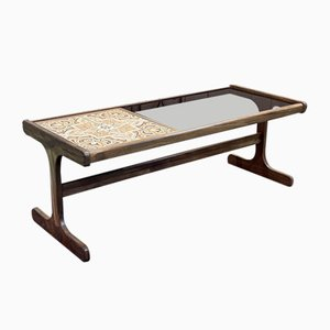 Teak Coffee Table with Tiled Tray and Vitreous, 1970s