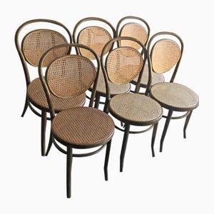 Esszimmerstühle aus Holzgeflecht, Deutschland, 1960er, 6er Set