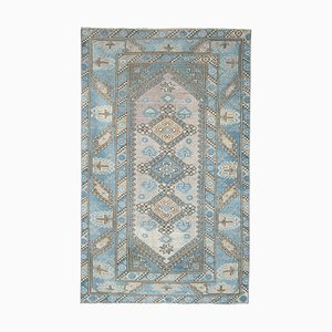 Vintage Turkish Handmade Blue Color Rug