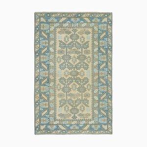 Vintage Turkish Handmade Blue Wool Rug