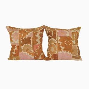 Uzbek Ethnic Suzani Patchwork Cushion Cover, 19th Century, Set of 2