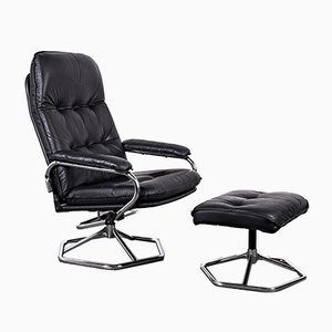 Leather Armchair & Stool from Unico, 1980, Set of 2
