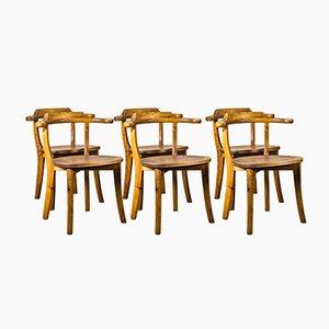 Sillas auxiliares danesas vintage de madera de pino. Juego de 6