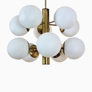 French Brass & Opaline Glass Chandelier
