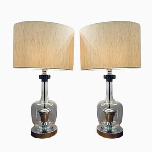 Space Age Glass and Chrome Table Lamps, 1970s, Set of 2