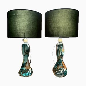 Green Table Lamp from Val St Lambert, 1950s