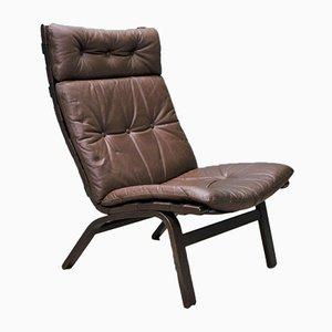 Mid-Century Norwegian Dark Brown Leather & Bentwood Lounge Chair
