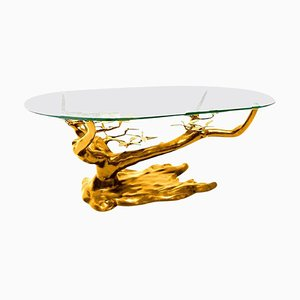 Large Belgian Brass Coffee Table in the Style of Willy Daro, 1970s