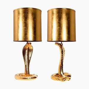 Ceramic Corbra Table Lamps by Tommaso Barbi, 1960s, Set of 2