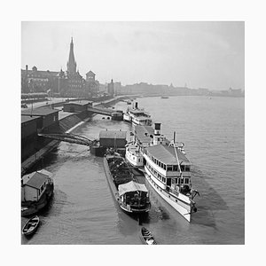 Ships Anchoring at the Old City of Duesseldorf, Germany 1937