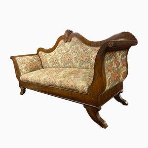 Italian Walnut Dormeuse Sofa by Carlo X, 1820s