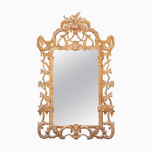 Neoclassical Rectangular Gold Foil Hand Carved Wooden Mirror, 1970s