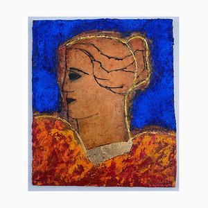 Classical Head, Contemporary Mixed Media, Figurative Painting