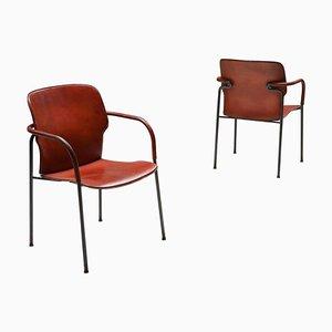 Model Lalanda Armchairs in Dark Cognac Leather by Gianfranco Frattini, Set of 2
